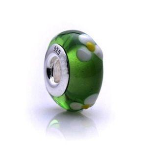 Pandora Murano Glass Bead Green White Flower